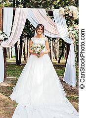 hermoso, naturaleza, novia, retrato, vestido blanco