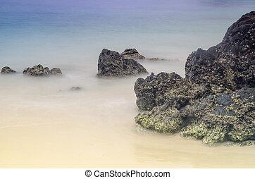 hermoso, naturaleza, Vista marina, composición