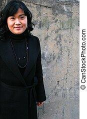 hermoso, niña asiática