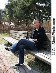 hermoso, niña asiática, con, trenzas