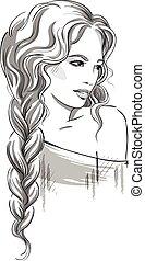 hermoso, niña, braid.
