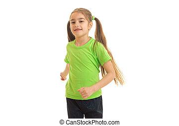 hermoso, niña, con, colas, corre, en, estudio