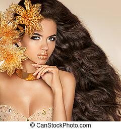 hermoso, niña, con, dorado, flowers., belleza, modelo, mujer, face., por