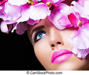 hermoso, niña, con, flores, y, perfecto, maquillaje