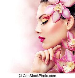 hermoso, niña, con, orquídea, flowers., perfecto, maquillaje