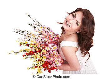 hermoso, niña, con, primavera, flower.