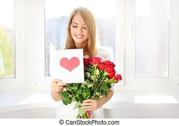 hermoso, niña, con, ramo, de, rosas rojas