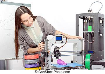 hermoso, niña, con, tridimensional, impresora