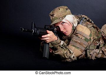 hermoso, niña, ejército, rifle