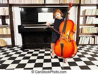 hermoso, niña, en, escuela, vestido, juego, en, violoncelo