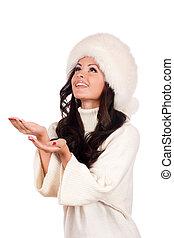hermoso, niña, en, piel, hat., invierno, retrato de mujer