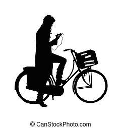 hermoso, niña en una bicicleta, vector