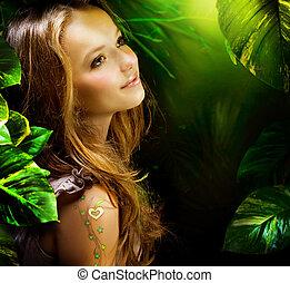 hermoso, niña, en, verde, místico, bosque