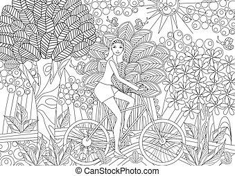hermoso, niña, es, equitación, en una bicicleta, en, imaginación, bosque, para, colori