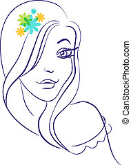 hermoso, niña, flores, silueta, lineal