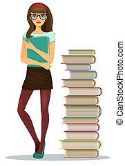 hermoso, niña joven, estudiante, con, apilado, libros