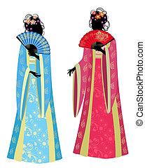 hermoso, niña, kimono, chino