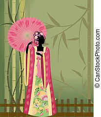 hermoso, niña, kimono