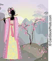 hermoso, niña, kimono, sakura, debajo