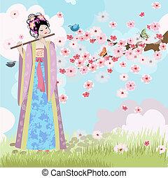 hermoso, niña oriental, cerca, flores de cerezo