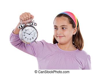 hermoso, niña, reloj