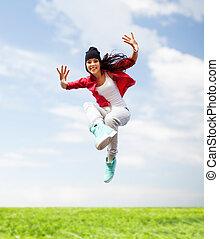 hermoso, niña, saltar, bailando