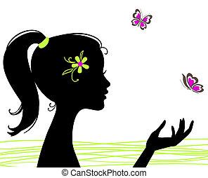 hermoso, niña, silueta, con, mariposa