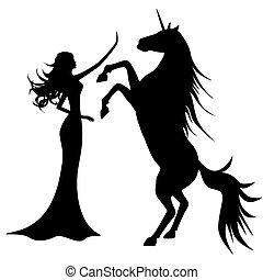 hermoso, niña, unicornio