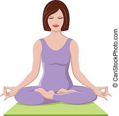 hermoso, niña, yoga