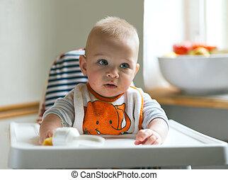 hermoso, niño, comida, alto, vegetabl, bebé, retrato, silla