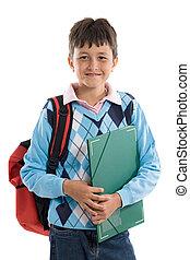 hermoso, niño, school., estudiante, espalda