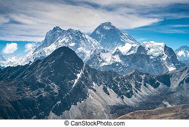 hermoso, nieve tapado, montañas