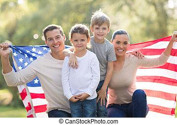 hermoso, norteamericano, moderno, familia
