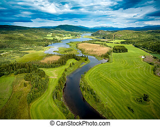 hermoso, noruega, naturaleza, aéreo, photography.