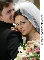 hermoso, novia, en, día boda