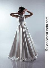hermoso, novia, en, elegante, boda, dress., moda, lady.
