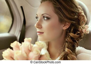 hermoso, novia, retrato de mujer, con, ramo nupcial, posar,...