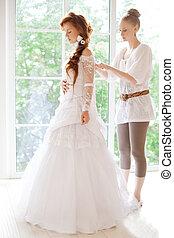 hermoso, novia, vestido, estilista, usa