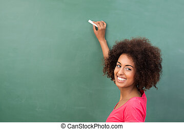 hermoso, o, norteamericano, estudiante, africano, profesor