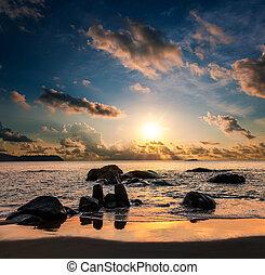 hermoso, ocaso, encima, el, mar
