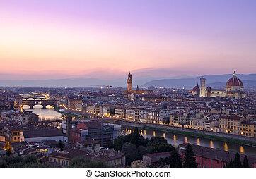 hermoso, ocaso, encima, el, río arno, en, florencia, italia