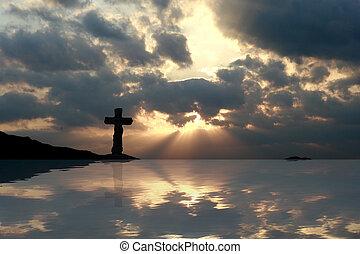 hermoso, ocaso, reflexión, cruz