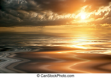 hermoso, ocaso, y, un, calma, mar