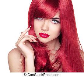hermoso, ojo azul, largo, atractivo, hair., retrato, modelo, rojo