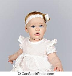 hermoso, ojo azul, nena, ropa, blanco