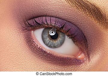 hermoso, ojo, con, makeup.