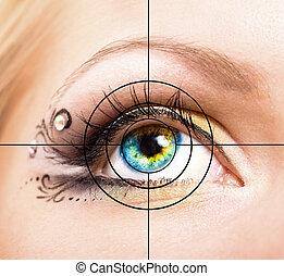 hermoso, ojo, con, maquillaje, y, blanco