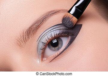 hermoso, ojo, Maquillaje
