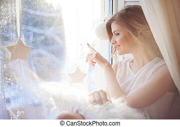 hermoso, ondulado, mujer, empates, romántico, peinado,...