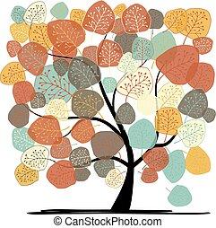 hermoso, otoño, árbol, para, su, diseño